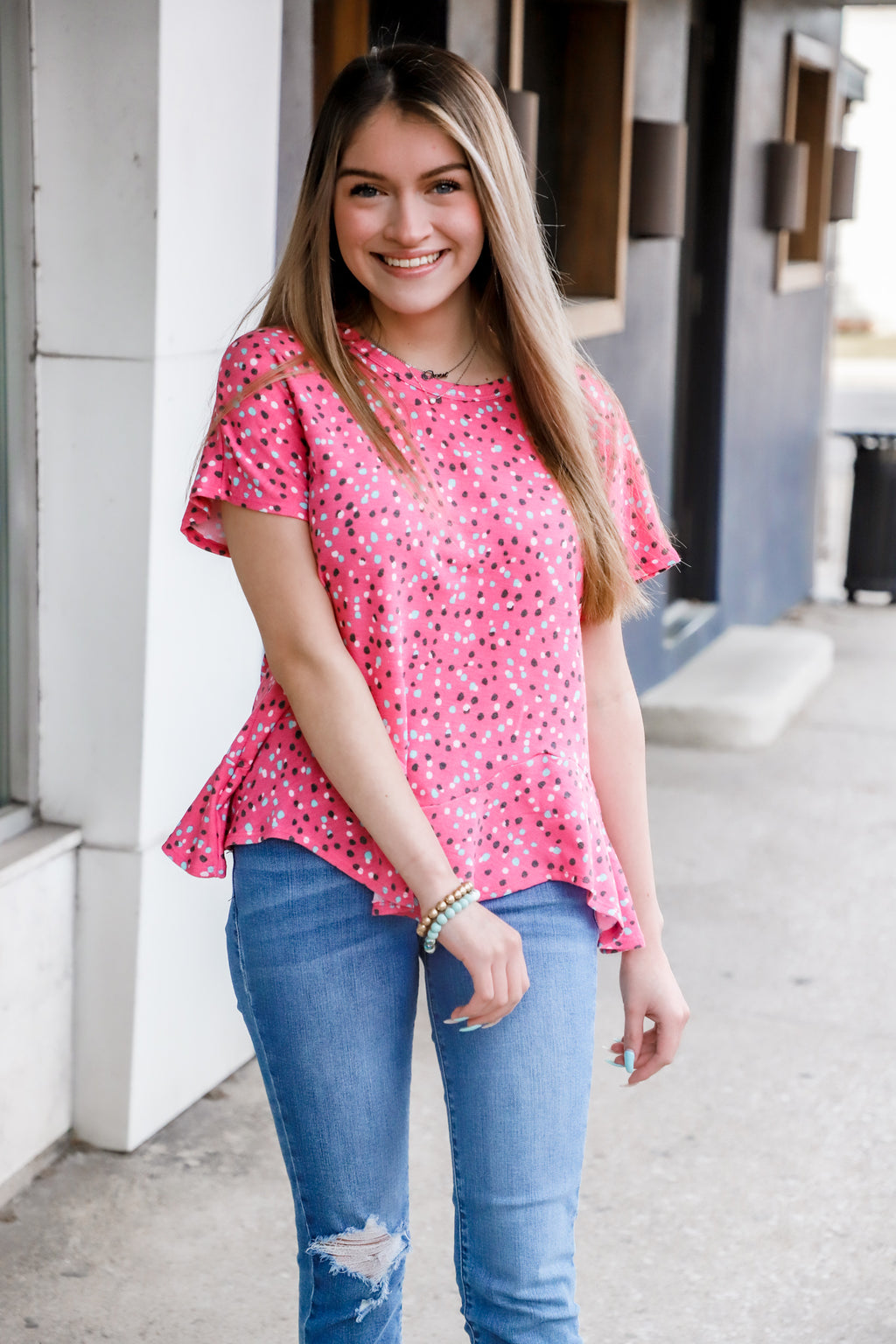 Just Be Pink Speckle Top
