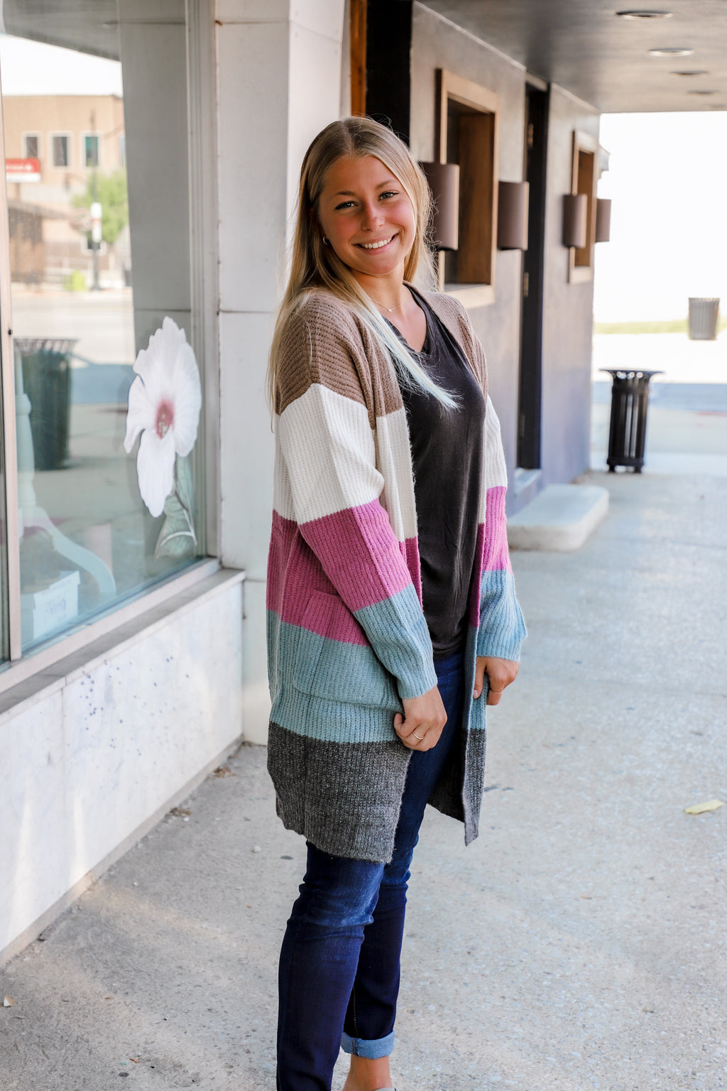 Fall for Him Teal Block Cardigan