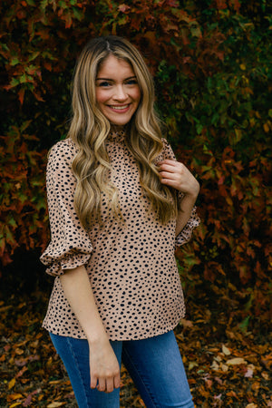 Higher Animal Print Ruffle Top