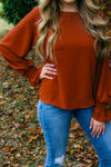 Smoke and Mirrors Rust Bubble Sleeve Top