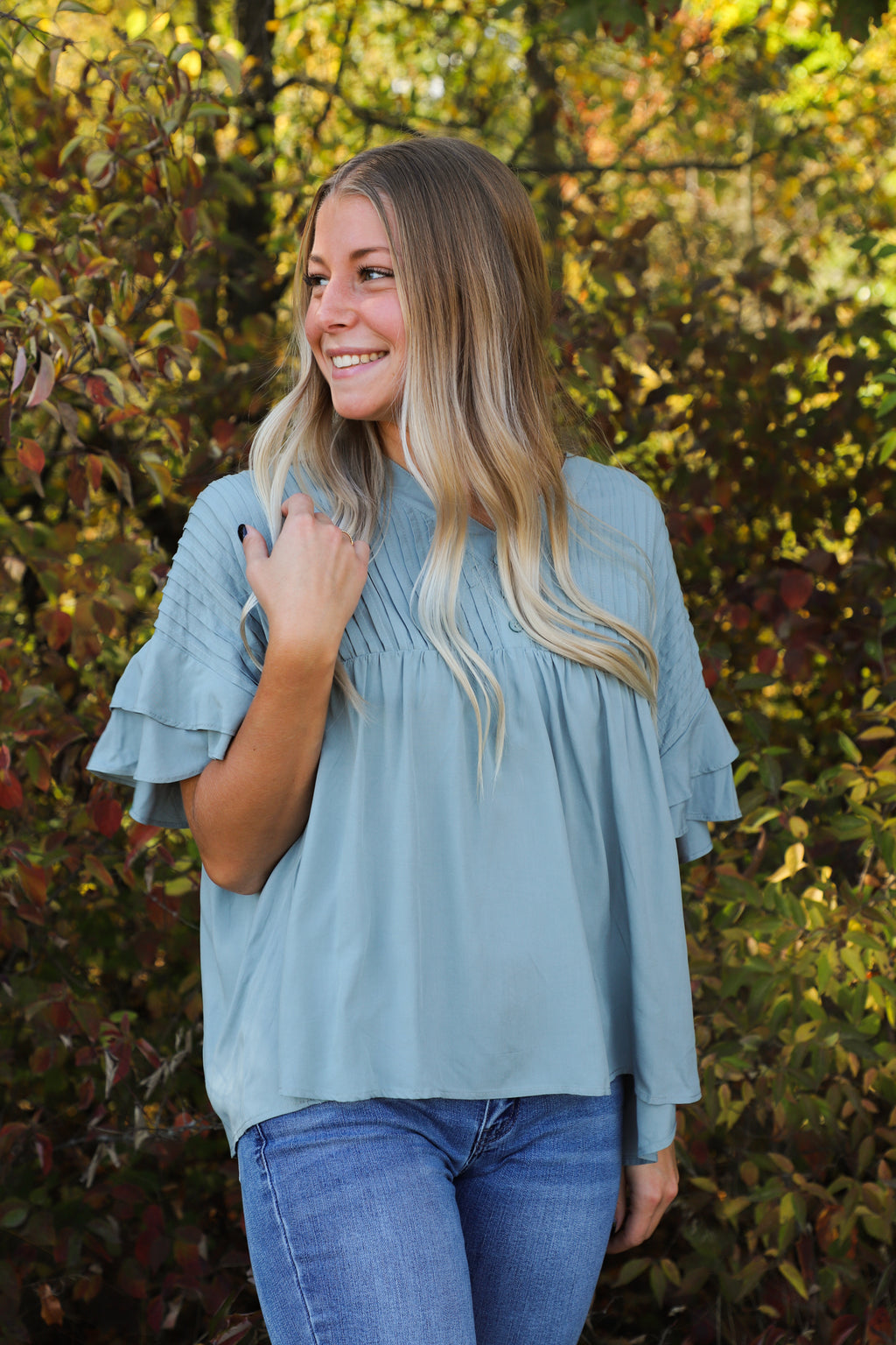 Grateful Heart Mint Ruffle Blouse