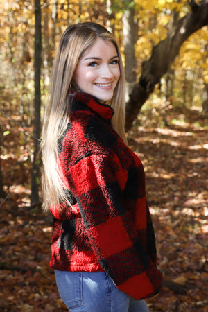Red Buffalo Plaid Zip Fleece
