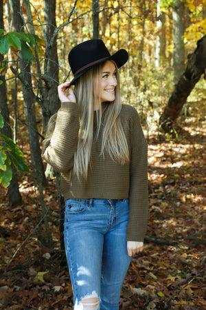 Wander Olive Knit Sweater