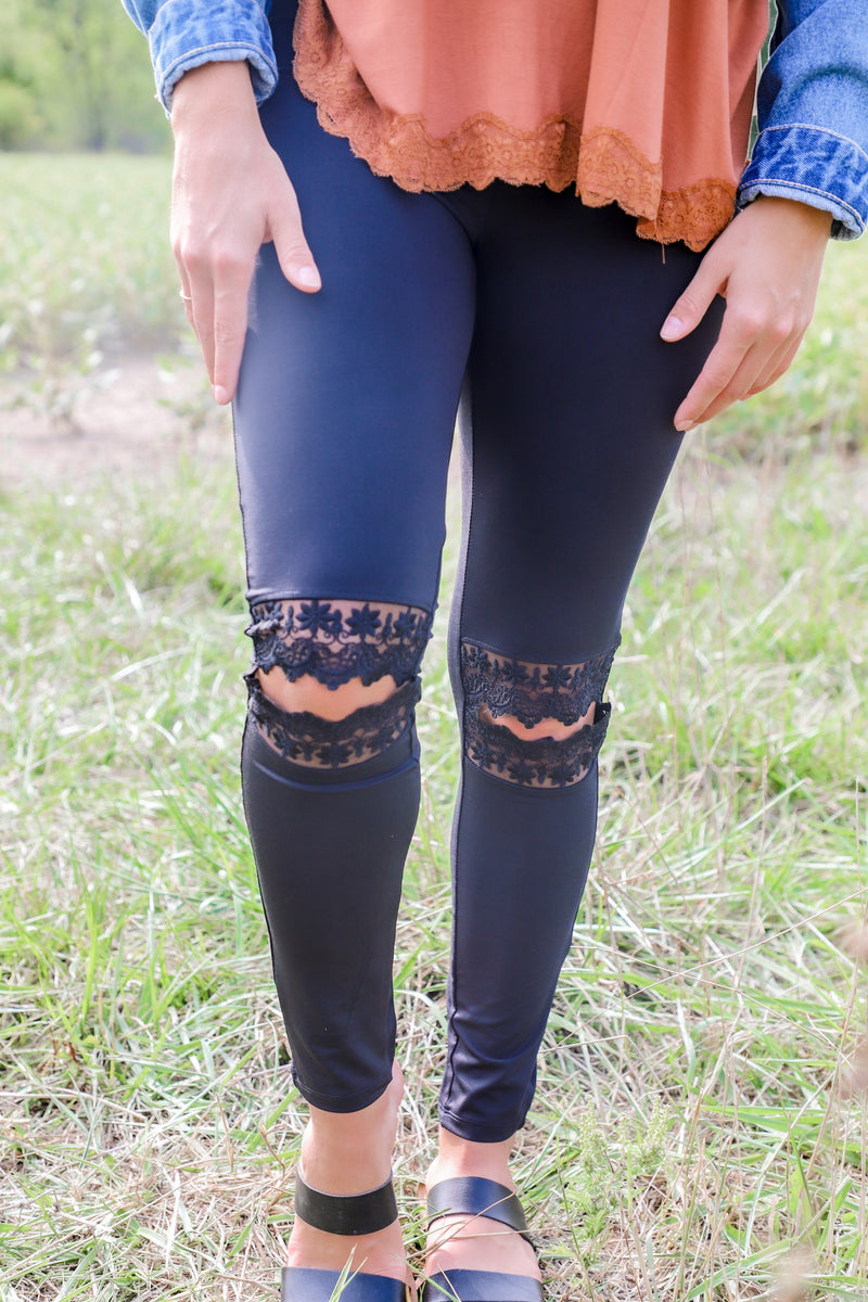 Ripped Lace Leggings