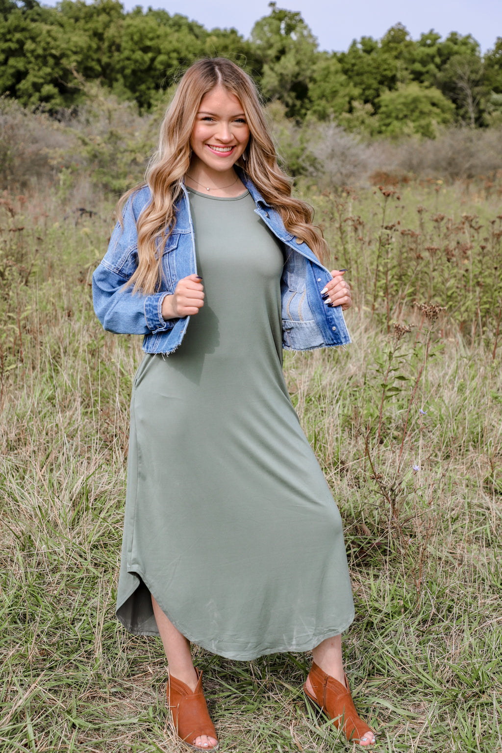 Safe Army Green Maxi Dress