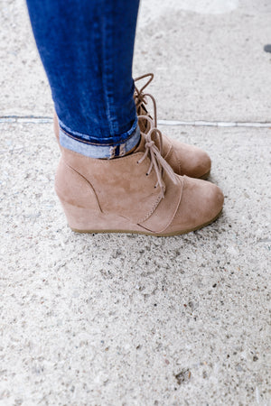 Bridget Taupe Wedged Booties