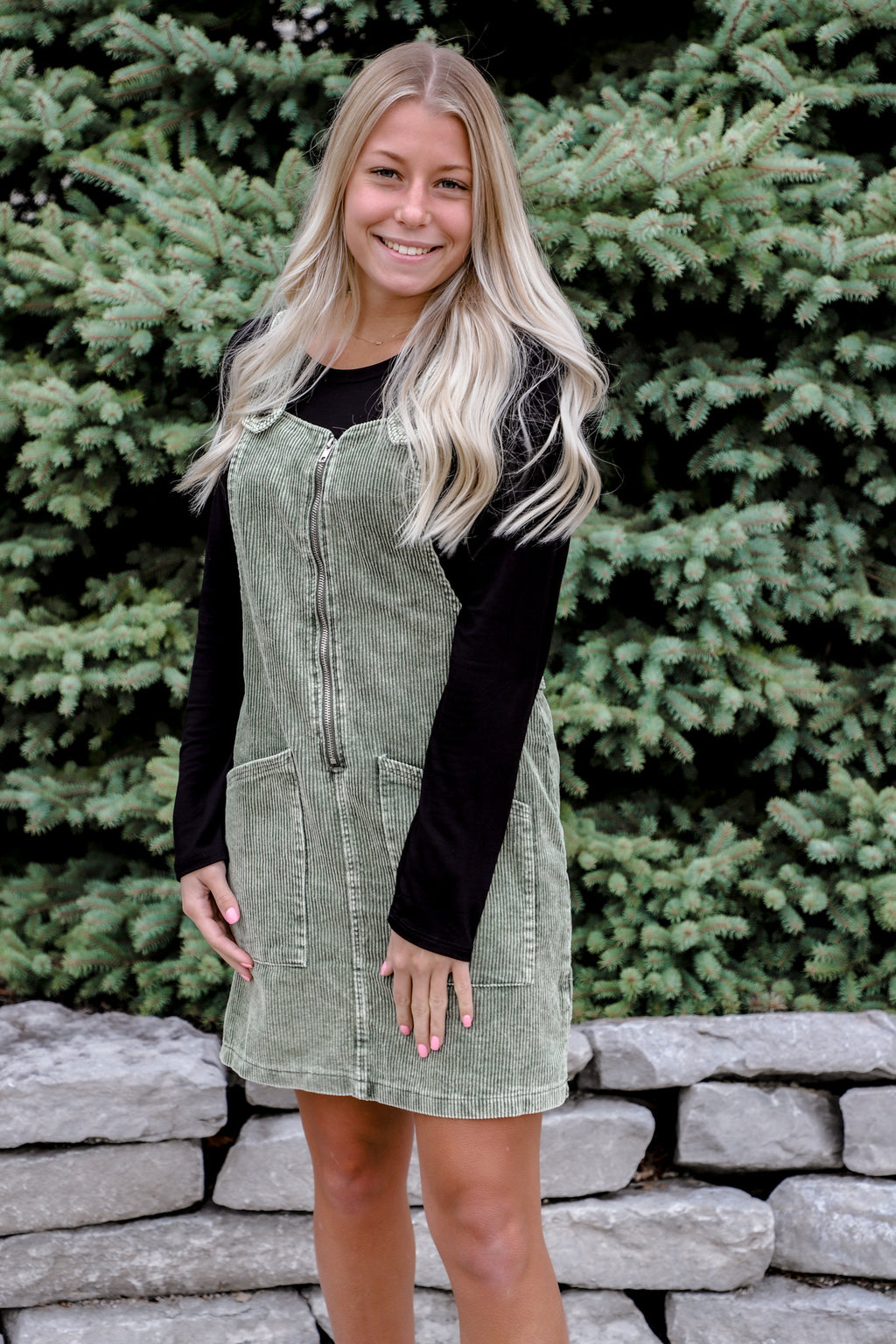 Promise Keeper Olive Overall Mini Dress