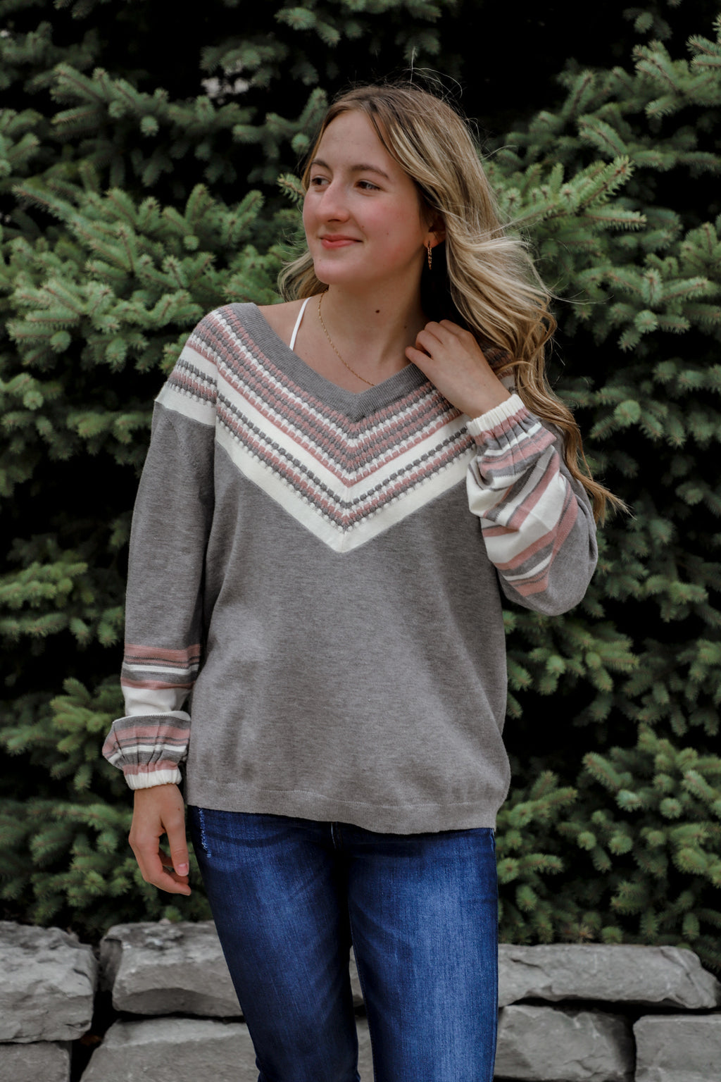 Put On Love Gray Drop Shoulder Sweater