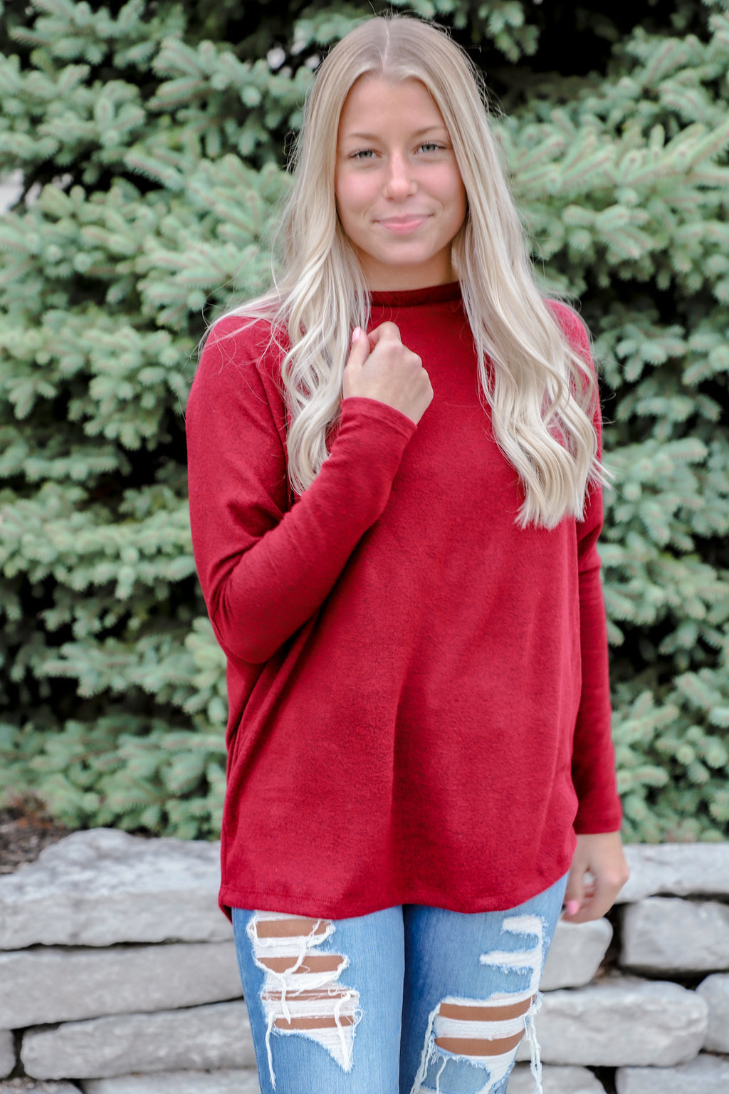 Inevitable Off the Shoulder Ruby Tunic
