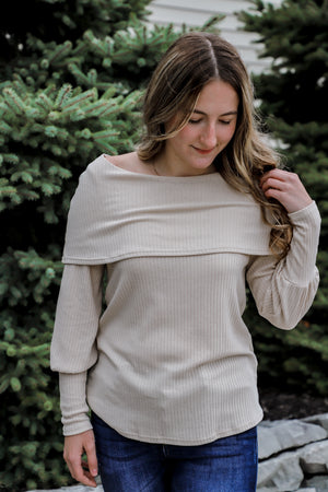 Infinite Taupe Off Shoulder Top
