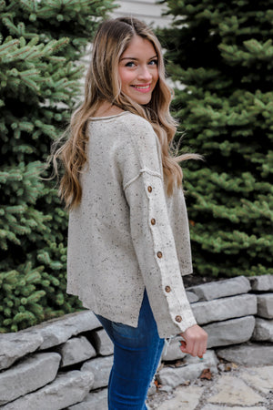 Miracle Cream Button Sweater