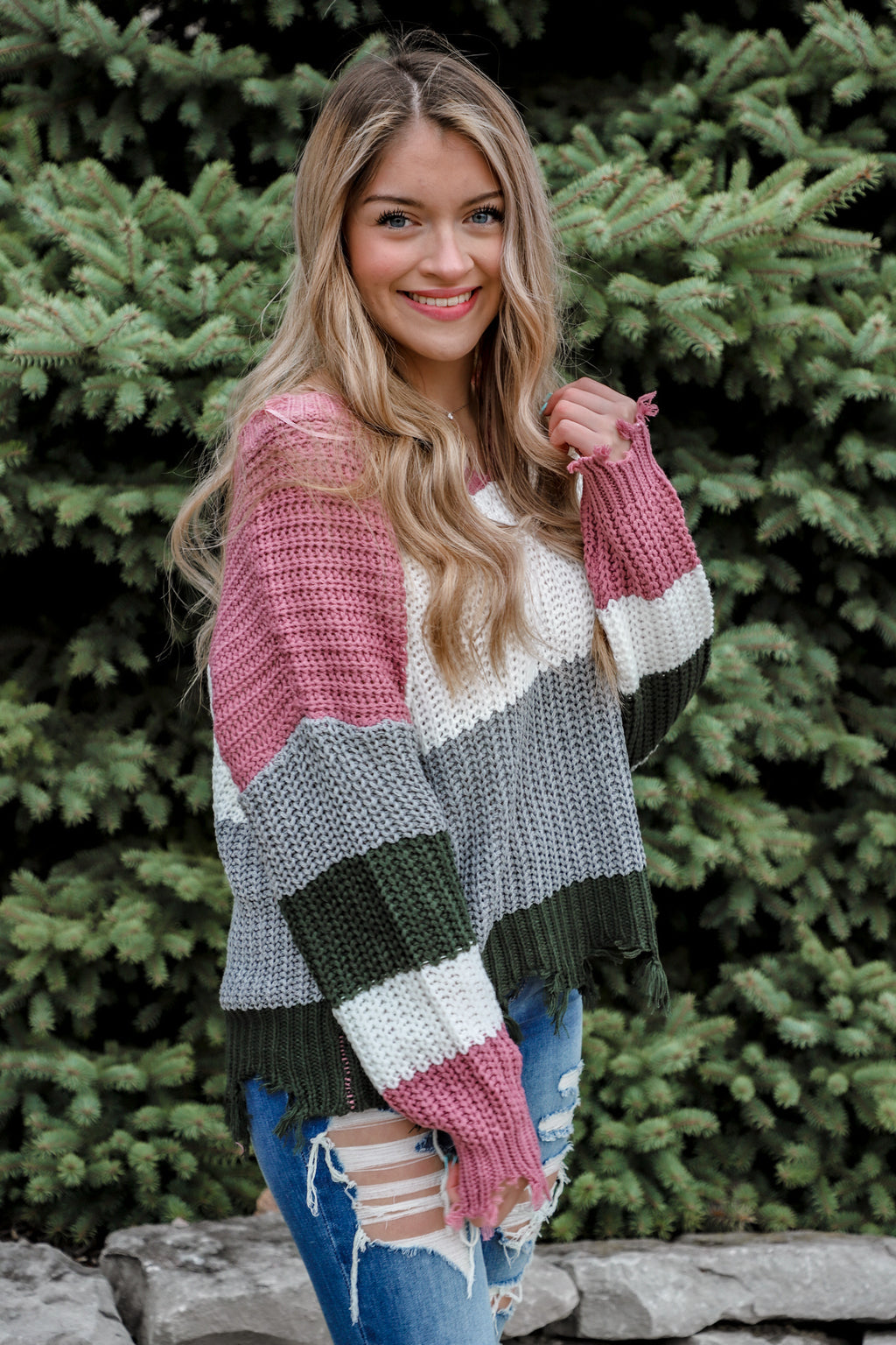 The Passion Distressed Color Block Sweater