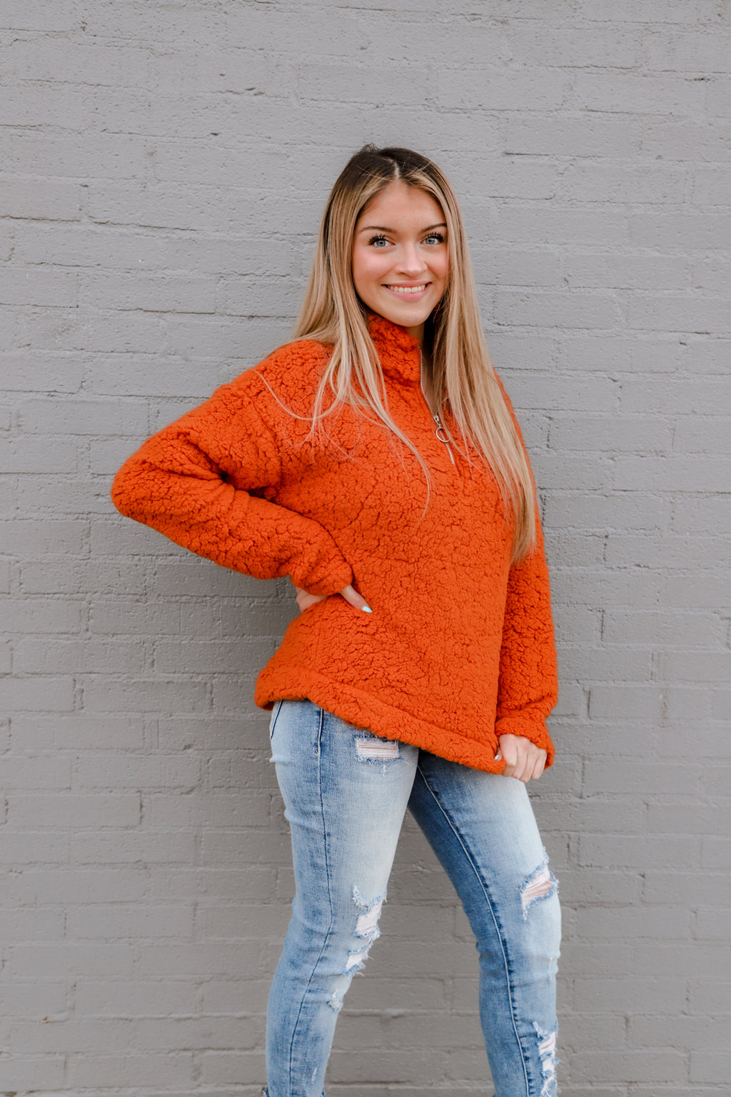Fire Fall Orange Sherpa Pullover