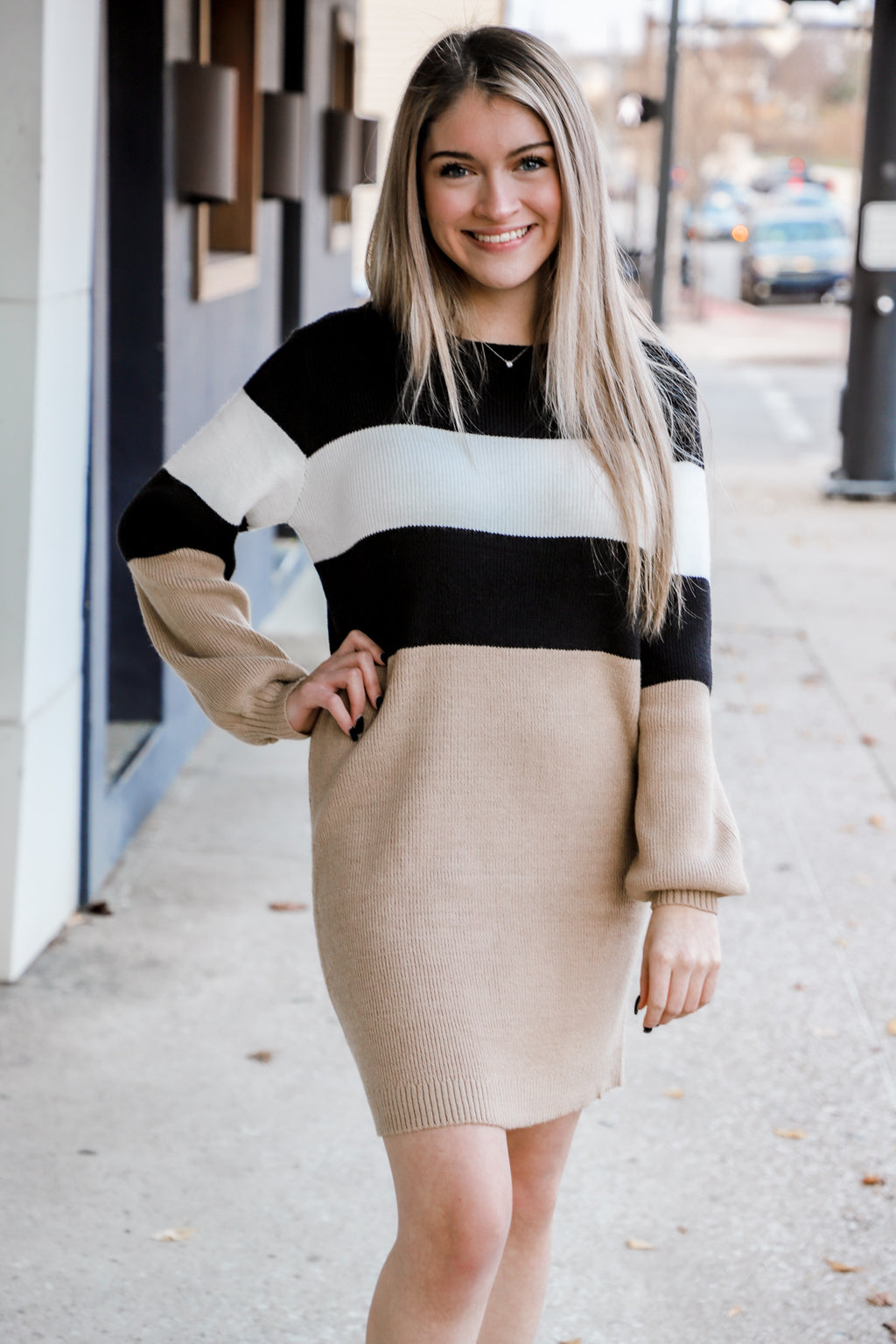You Belong Color Block Sweater Dress
