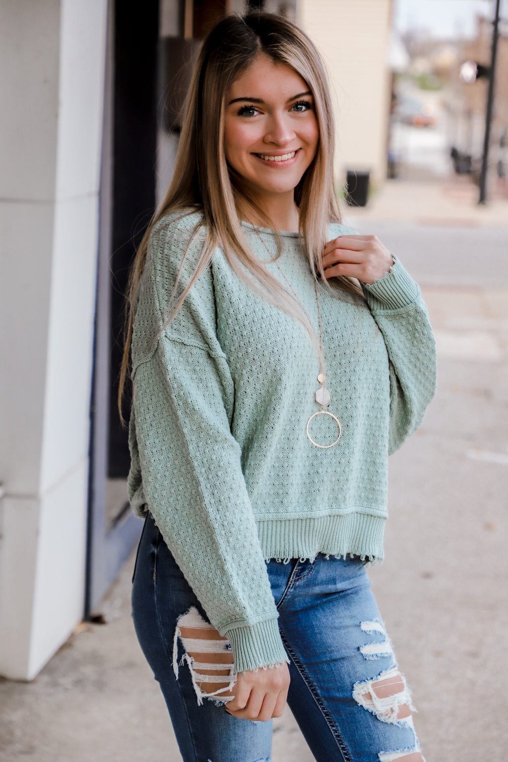 Reckless Love Sage Sweater