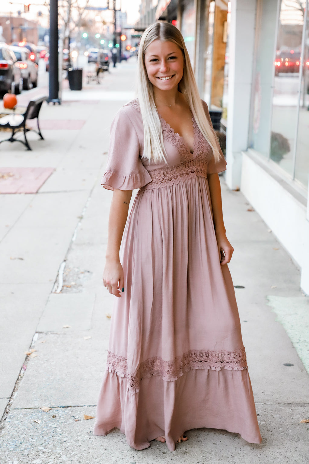 One Desire Mauve Crochet Maxi Dress