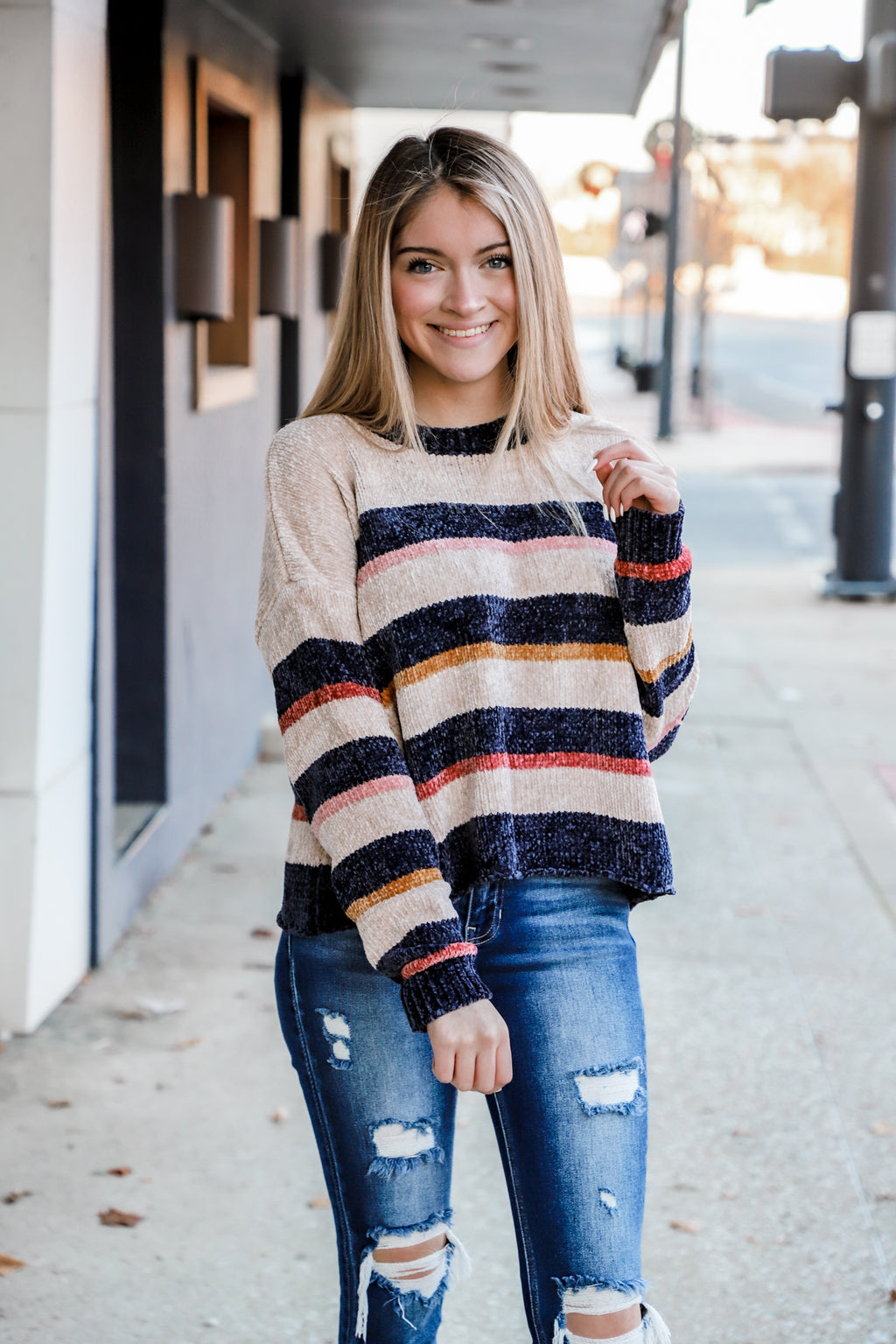 Closer Than You Stripe Chenile Sweater
