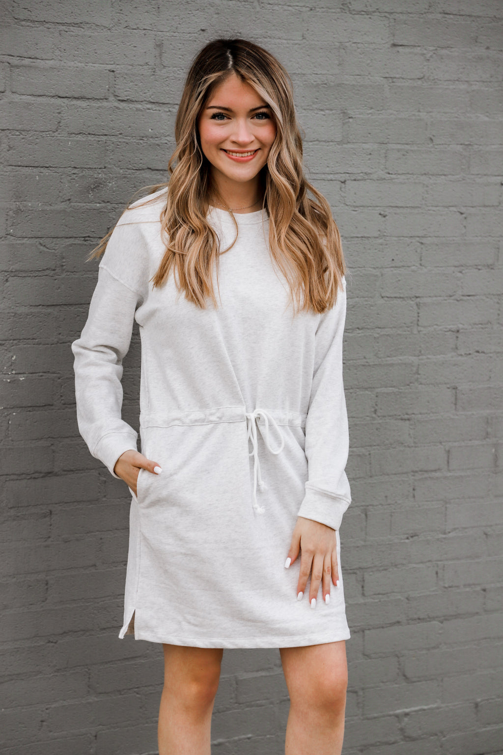 Yield My Heart Marble Gray Sweater Dress
