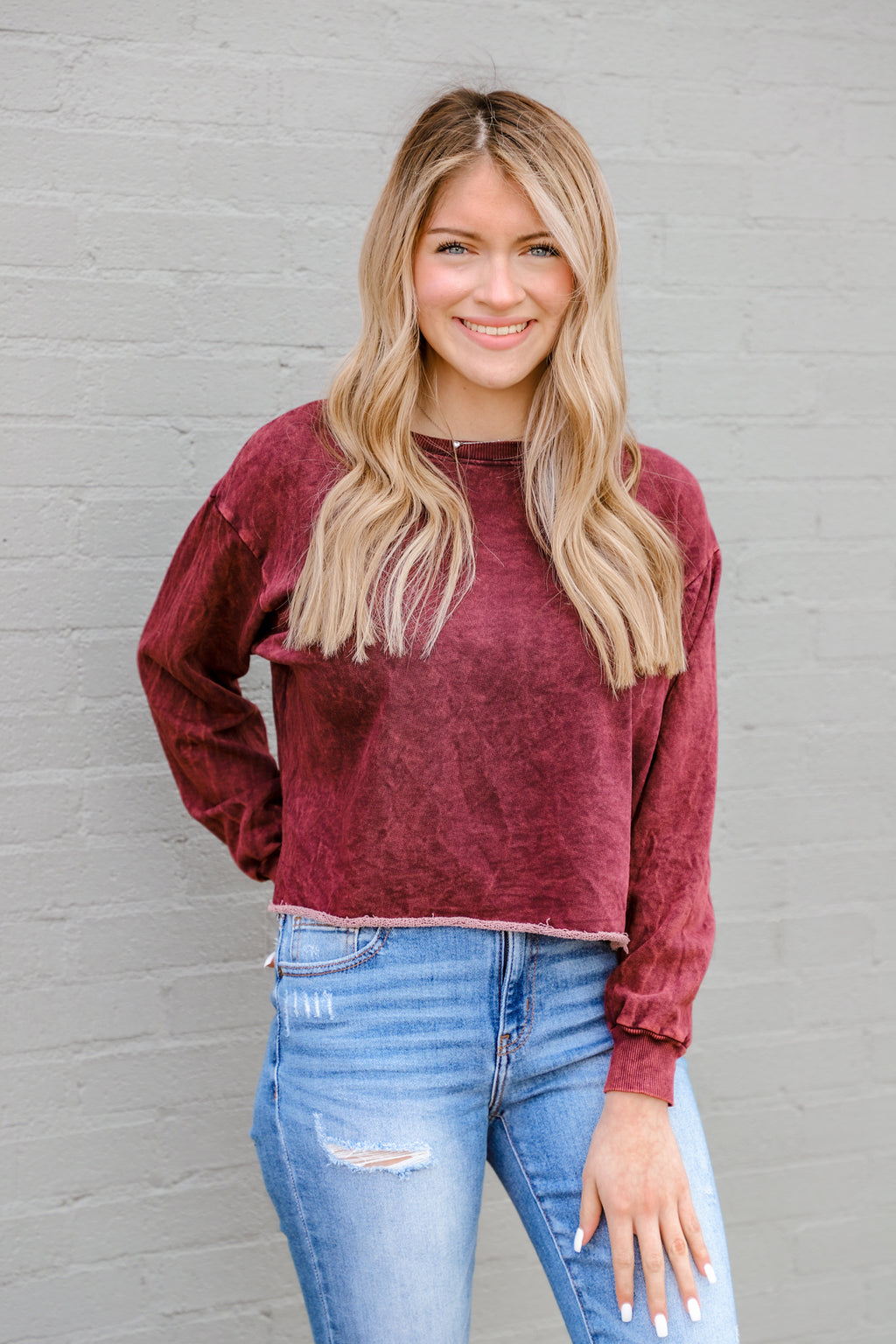 Sweet Praise Burgundy Distressed Cropped Crewneck
