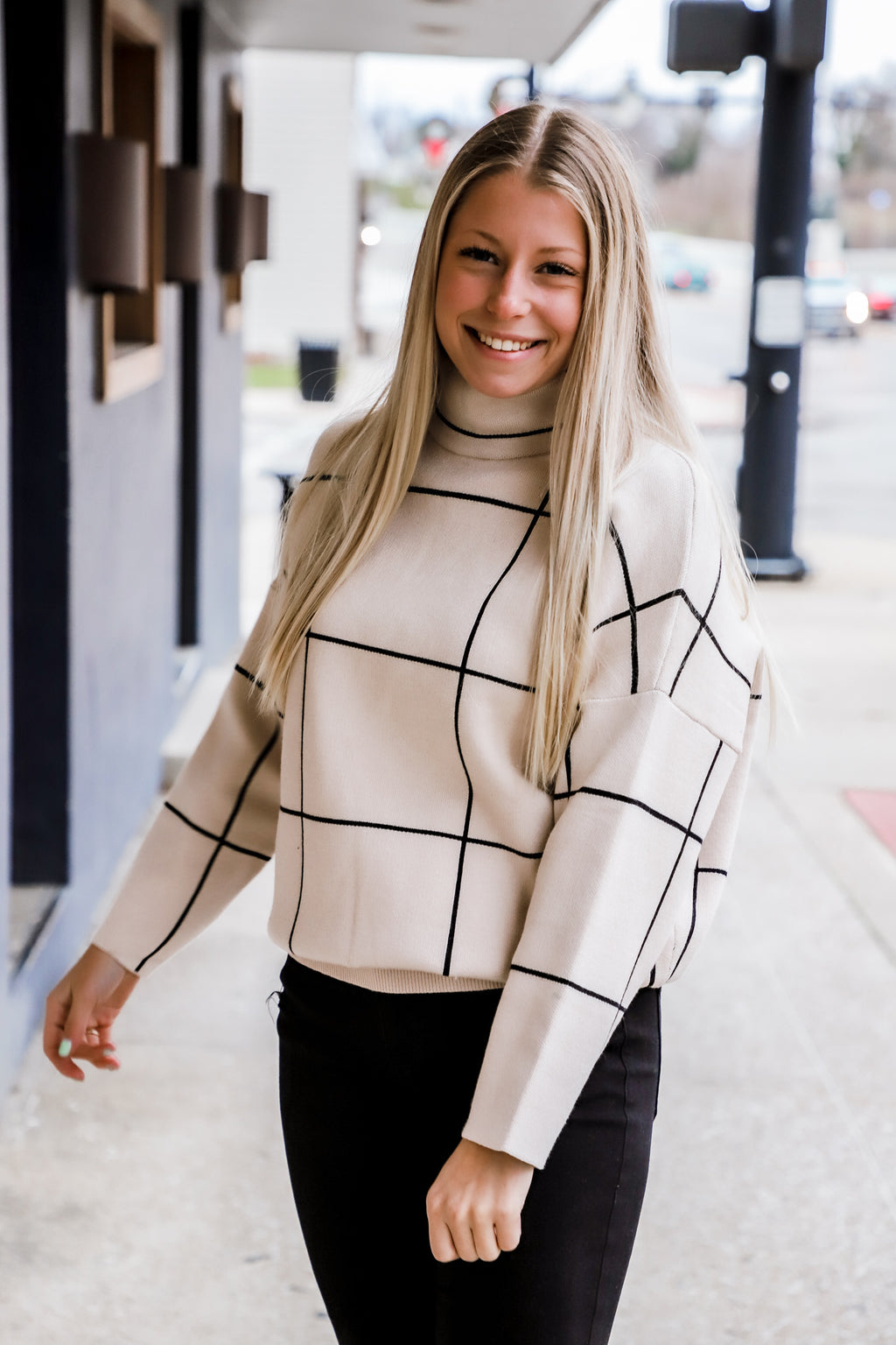 Capture Your Love Cream Grid Sweater