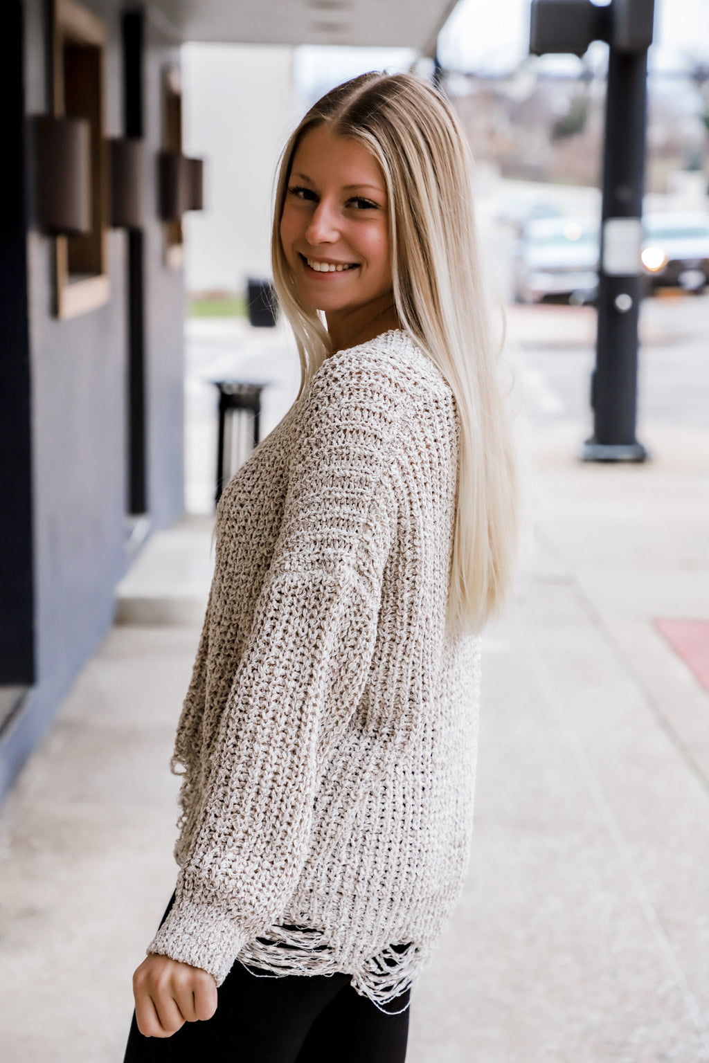Chain Reaction Taupe Knit Sweater