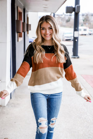 Heaven All Around Color Block Sweater