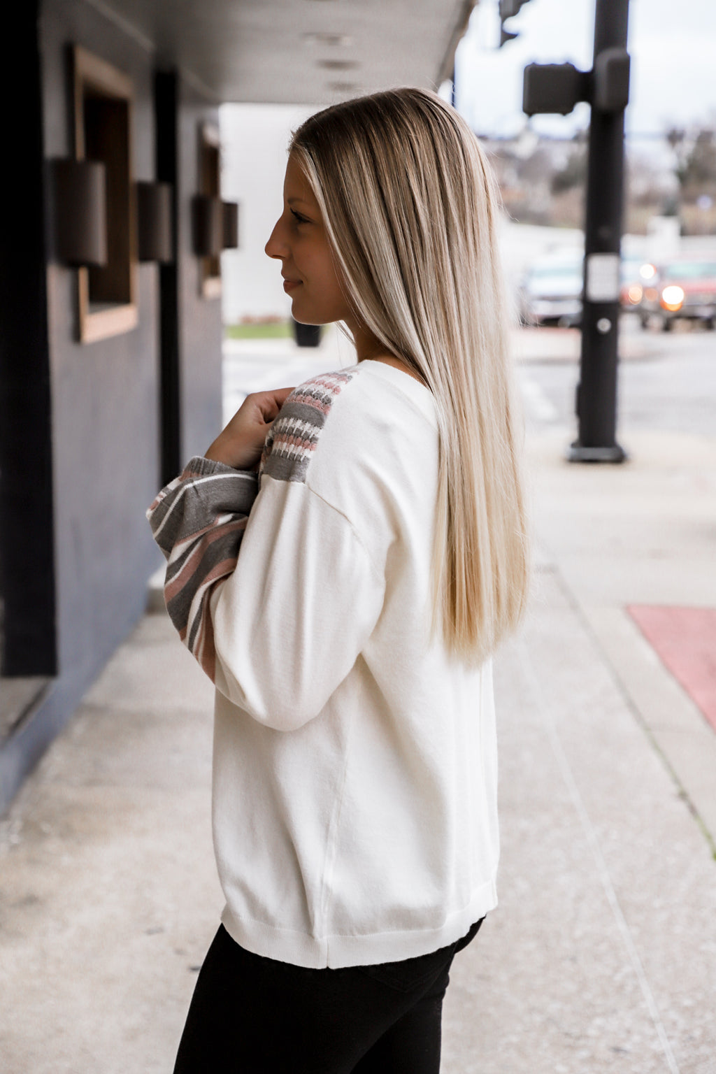 Put On Love Ivory Drop Shoulder Sweater