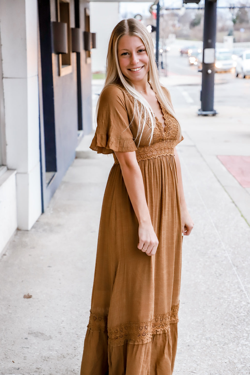 One Desire Caramel Crochet Maxi Dress