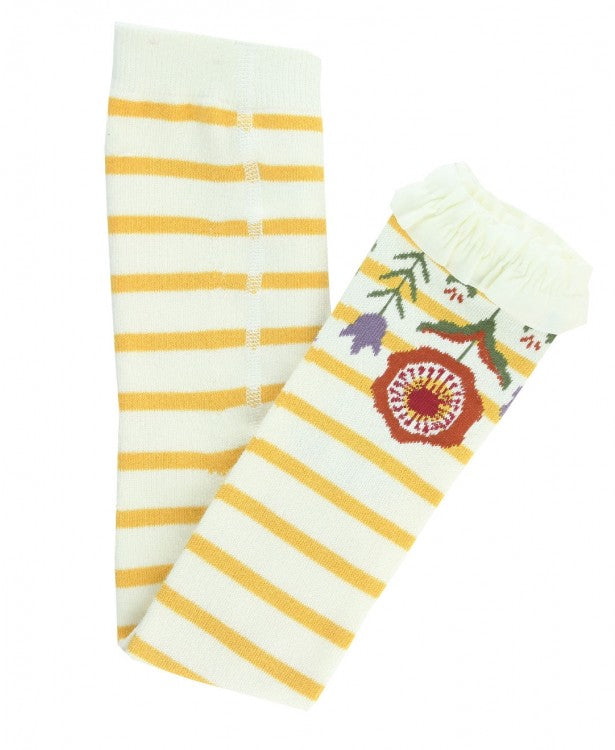 Golden Yellow & Ivory Stripe Floral Footless Ruffle Tights