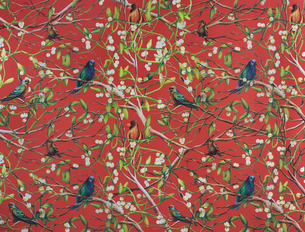 Bird Scene Wrapping Sheets – Orange