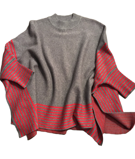 Gray & Red Striped Mock Neck Poncho