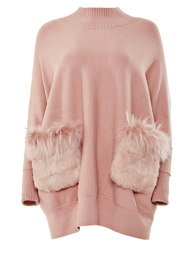 Blush Poncho with Detachable Fur Pockets