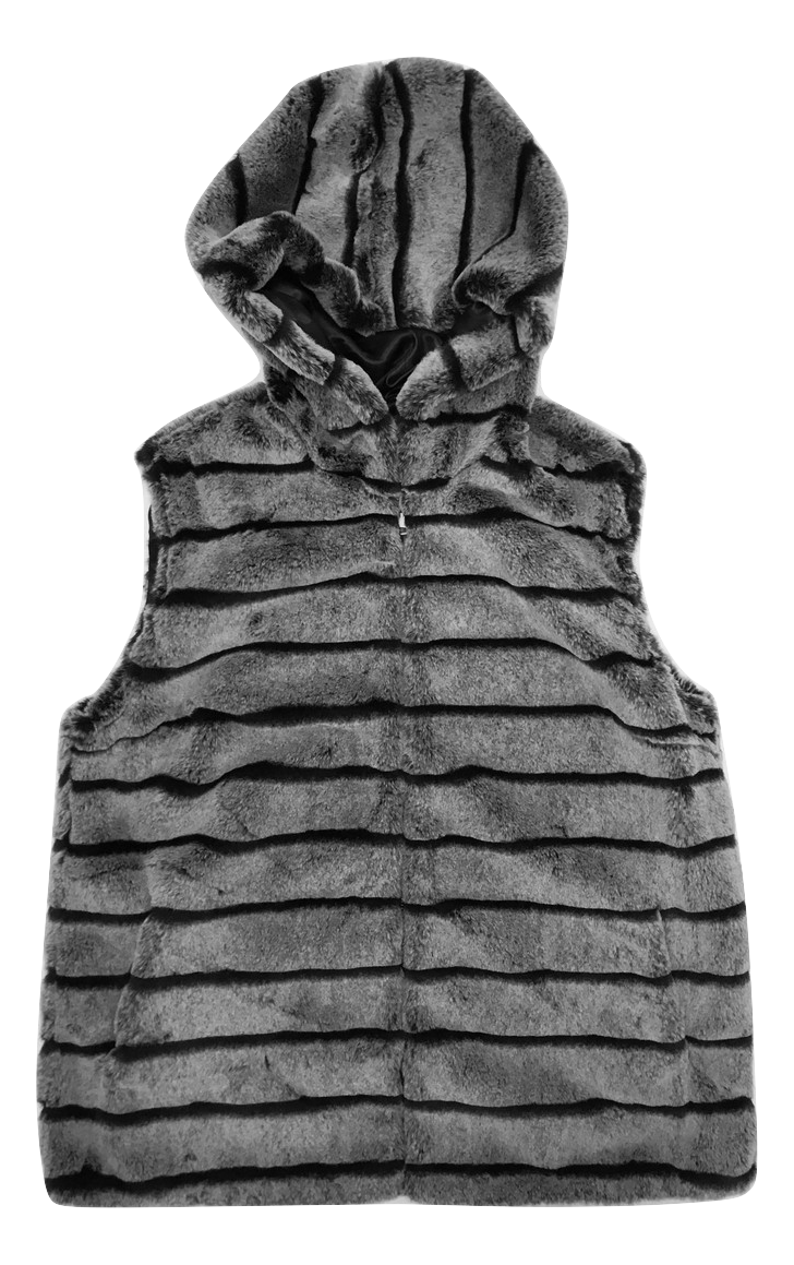 Charcoal Faux Fur Vest with Hood