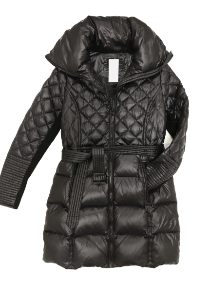 Black Down Belted Puffer Coat