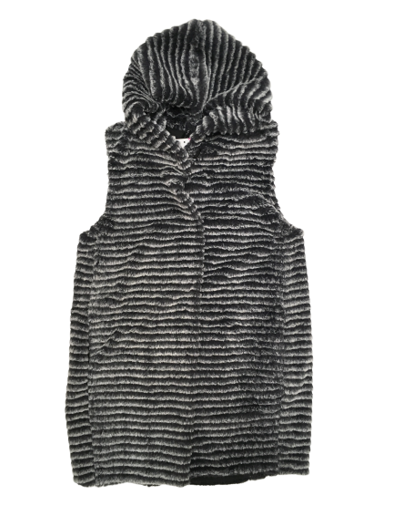 "Charcoal Faux ""Mink"" Hooded Vest"