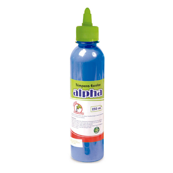 Tempera Alpha Escolar x250 ml Azul
