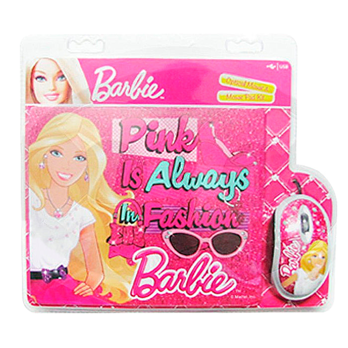 Mouse con Cable Barbie + Padmouse Rosa