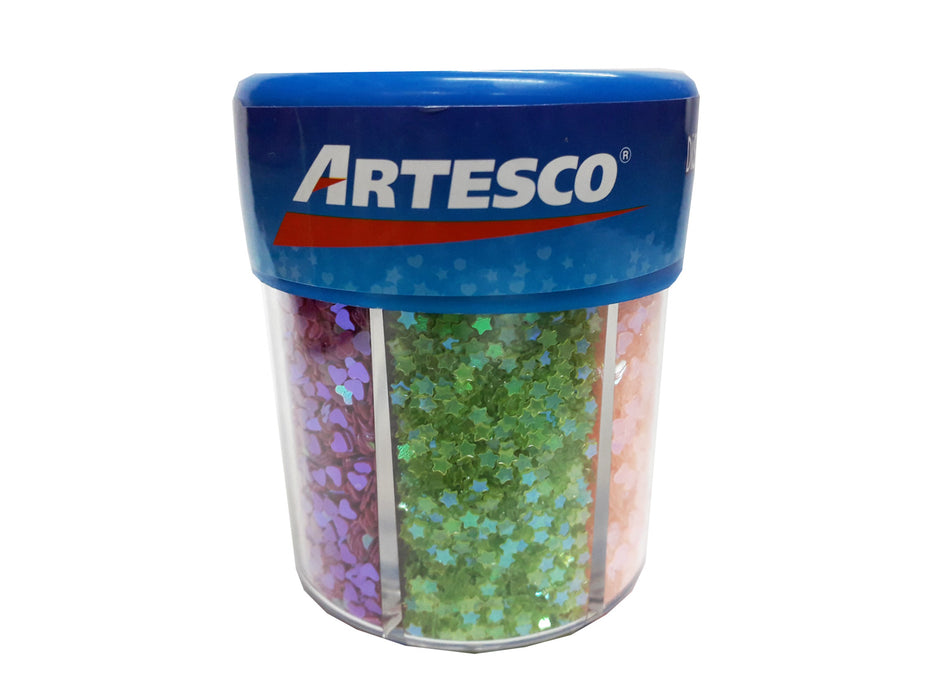 Escarcha Diamantina Artesco x6 Colores Formas Deco 80g
