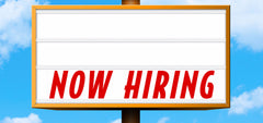 'Now Hiring' Word Panel - Starting at $42.95. Prices vary by size.