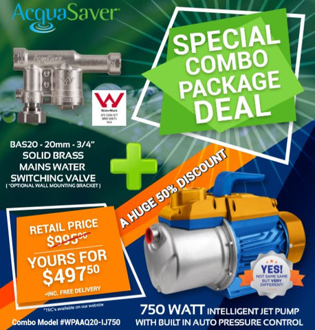 "Package Deal - 750 Watt Intelligent Jet Venturi Water Pump plus the AcquaSaver BAS20 3/4"" Mains Water Switching Device"