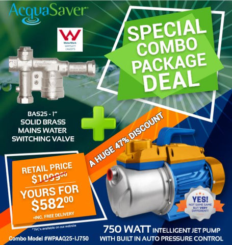 "Package Deal - 750 Watt Intelligent Jet Venturi Water Pump plus the AcquaSaver BAS25 1"" Mains Water Switching Device"