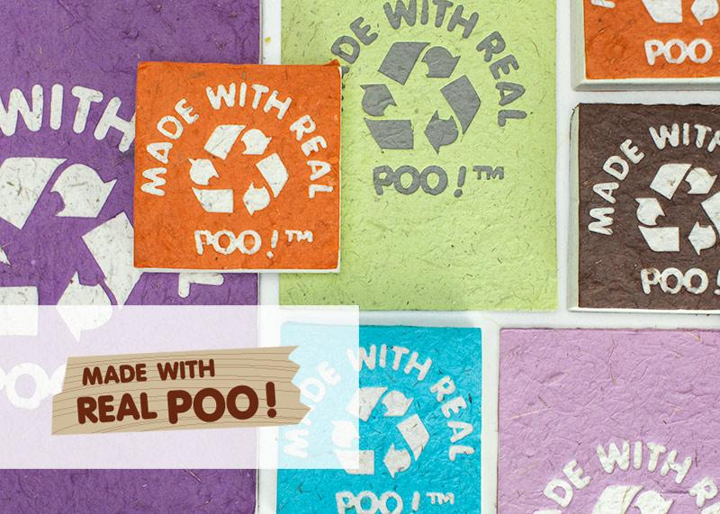 Eco-Friendly, Tree-free, Chemical free, sustainable Elephant POOPOOPAPER - Made With Real Poo