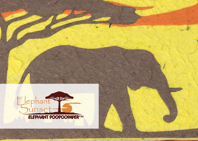 Eco-Friendly, Tree-free, Chemical free, sustainable Elephant POOPOOPAPER - Savannah Sunset Theme