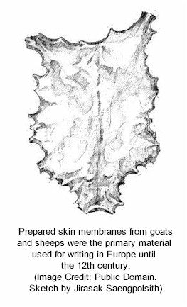 Europeans used parchment as a writing medium from the skin membranes of sheep and goats
