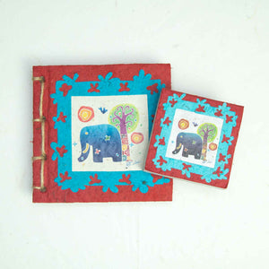 Eco-Friendly, Tree-Free, Twine Journal and Scratch Pad - Thailand Themed Batik Art Set - Red - by POOPOOPAPER