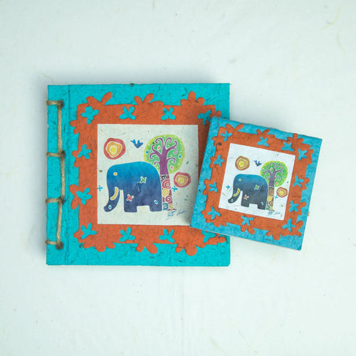 Artist Reproductions - Twine Journal and Scratch Pad - Thailand Themed Batik Art Set - Teal