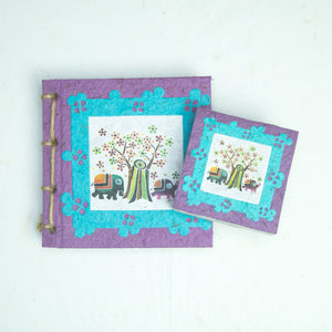 Artist Reproductions - Twine Journal and Scratch Pad - Thailand Themed Batik Art Set - Purple