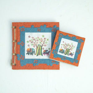 Artist Reproductions - Twine Journal and Scratch Pad - Thailand Themed Batik Art Set - Orange