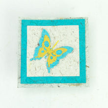 Load image into Gallery viewer, Flower Garden - Greeting Card - Butterfly - Turquoise/ Yellow on Natural -  (Set of 5)