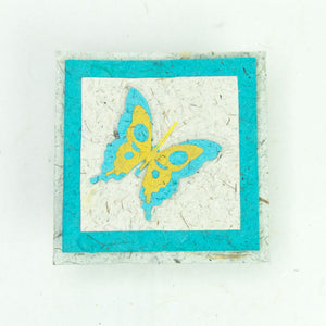 Flower Garden - Greeting Card - Butterfly - Turquoise/ Yellow on Natural -  (Set of 5)
